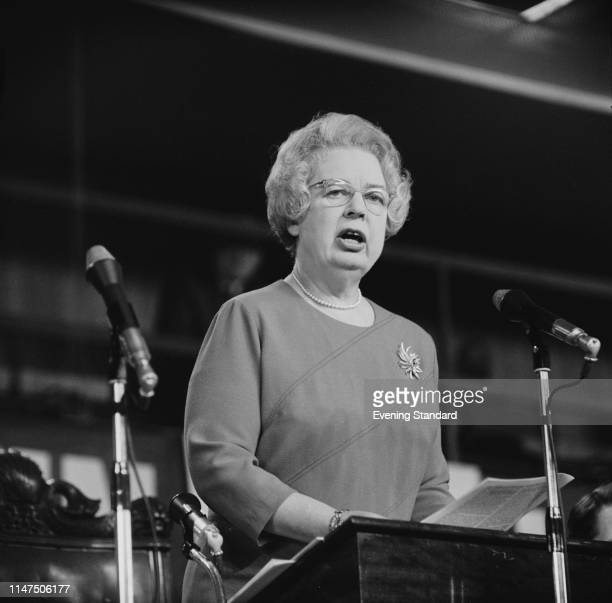 British Labour politician and journalist Eirene White talking at the Labour Party Conference, Brighton, UK, 3rd October 1969.