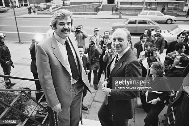 British labour politician and leader of the Labour Party Neil Kinnock posed with Labour Party General Secretary Larry Whitty on the steps of the...