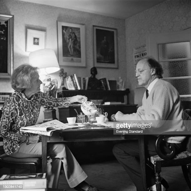 British Labour politician and social reformer Frank Pakenham, 7th Earl of Longford , with his wife, historian Elizabeth Longford , UK, 20th September...
