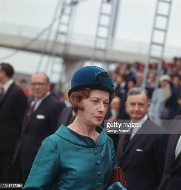 British Labour politician Barbara Castle the Minister for Transport attends the opening of the Severn Bridge between England and Wales by Queen...