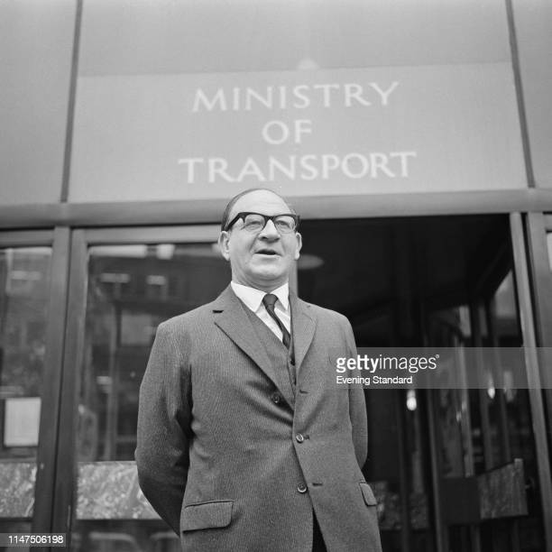 British Labour politician, barrister-at-law and economist Fred Mulley outside the Ministry of Transport office, London, UK, 8th October 1969.