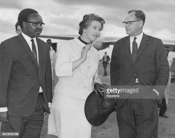 British Labour politician Judith Hart the Minister of State for Commonwealth Affairs arrives at Nairobi Airport in Kenya and is met by Mr Kipinge...