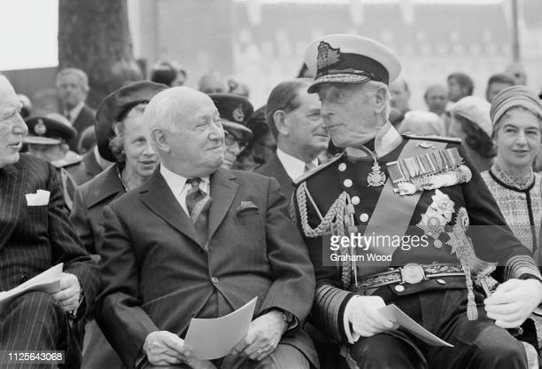 British Labour politician Manny Shinwell with British Royal Navy officer and statesman Louis Mountbatten UK 22nd May 1975