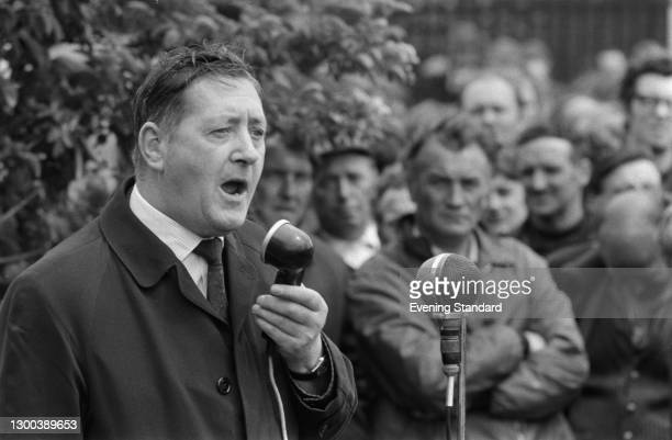 British Labour politician Maurice Foley , the Opposition Spokesman on Foreign Affairs, addresses a protest meeting of dockworkers during a period of...