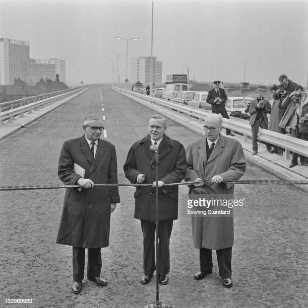 British Labour politician Tom Fraser , the Minister of Transport, officially opens an elevated section of the M4 motorway from Junction 1 to Junction...
