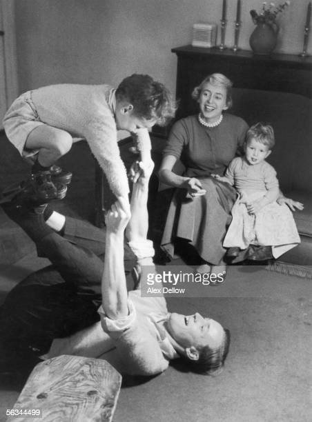 British Labour politician Tony Benn at home with his wife Caroline and children Hilary and Stephen 29th October 1955 Original publication Picture...