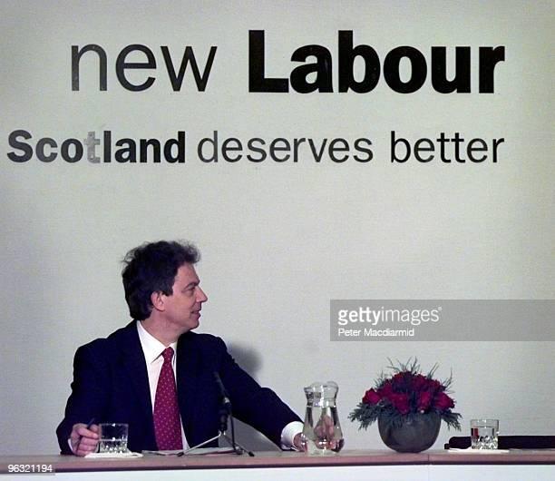 British Labour politician Tony Blair presents the Labour Party manifesto in Glasgow, Scotland, during his election campaign, 4th April 1997.
