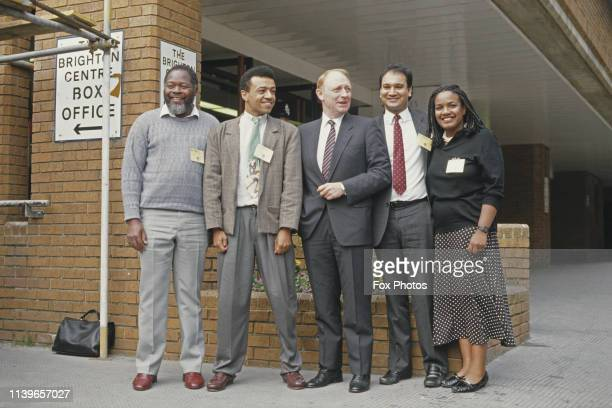 British Labour politicians at the Labour Party Conference in Brighton UK November 1987 From left to right Bernie Grant Paul Boateng Neil Kinnock...