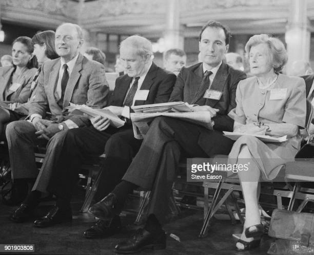 British Labour politicians Neil Kinnock and Barbara Castle at the Labour Party Conference in Blackpool UK 1992