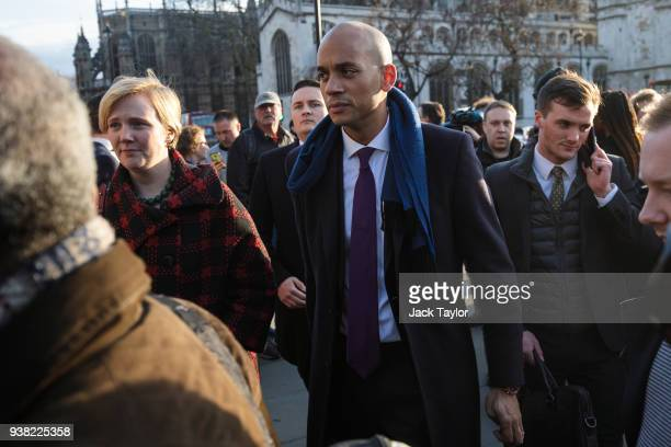 British Labour politicians Stella Creasy and Chuka Umunna leave after attending a demonstration in Parliament Square against antiSemitism in the...