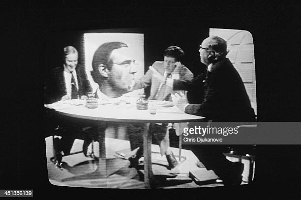 British Labour politicians Tony Benn and Roy Jenkins debate the European Economic Community with presenter David Dimbleby on a BBC Panorama...