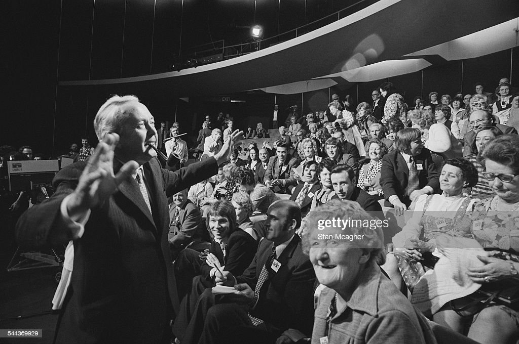 British Labour Prime Minister Harold Wilson (1916 - 1995, left) at the New London Theatre for the recording of the Granada TV pre-general-election discussion programme, 'The Granada 500', London, 7th October 1974. The programme features a representative panel of 500 voters from the marginal seat of Preston.