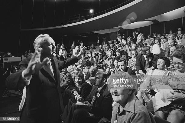 British Labour Prime Minister Harold Wilson at the New London Theatre for the recording of the Granada TV pre-general-election discussion programme,...