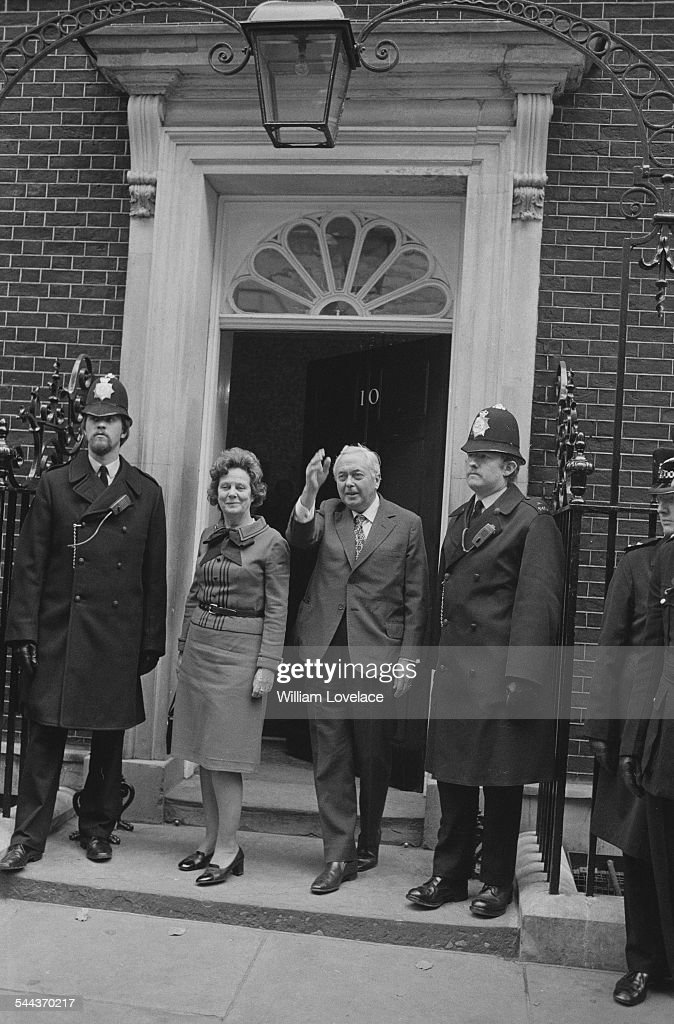 British Labour Prime Minister Harold Wilson (1916 - 1995) with his wife, Mary, outside 10 Downing Street, the day after his re-election in the UK general election, 11th October 1974.