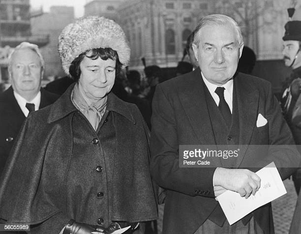 British Labour prime minister James Callaghan and his wife Audrey leave Westminster Abbey in London after a memorial service for the late Anthony...