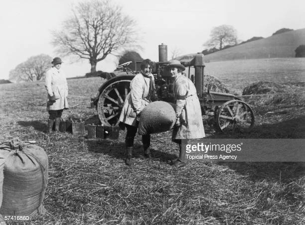British land girls in training on a farm during World War I March 1918