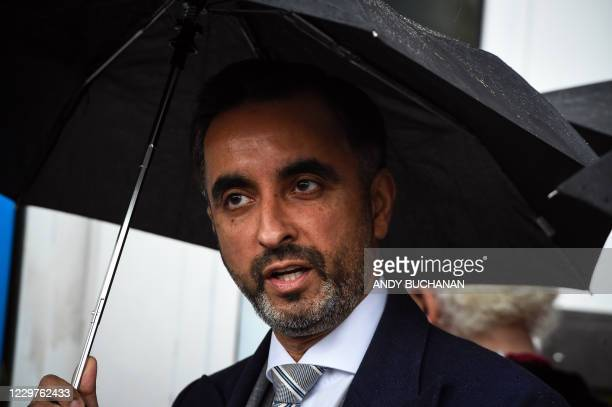 British lawyer Aamer Anwar arrives at a venue in Glasgow on November 24, 2020 to take part on the opening day of a posthumous appeal against the...