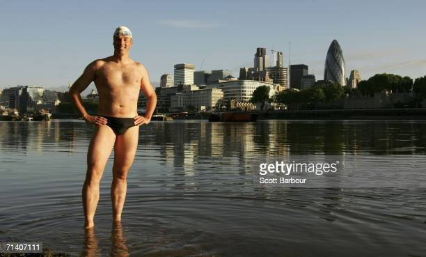 British Lawyer and endurance swimmer Lewis Gordon Pugh poses for a photograph in the River Thames on July 10 2006 in London England Pugh is seeking...