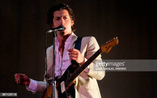 British lead vocal and guitar Alex Turner of the band Arctic Monkeys performs during the 12th Alive Music Festival in Oeiras near Lisbon on July 12...