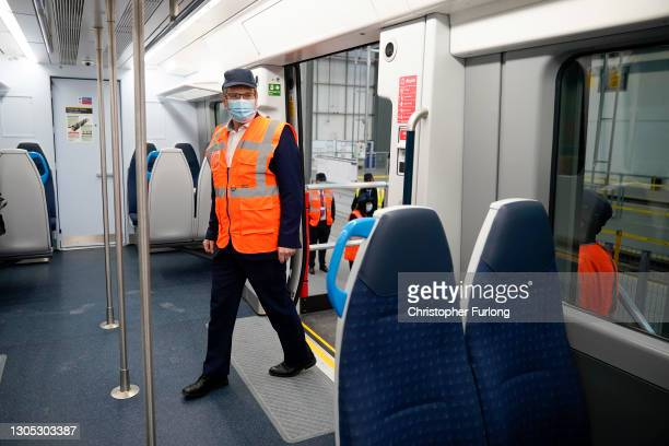 British leader of the Labour Party, Sir Keir Starmer views the interior of a new South Western train at Alstom, formerly Bombardier, train...