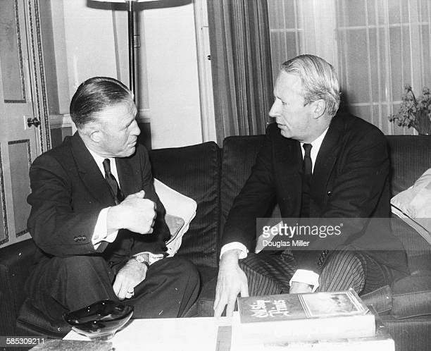 British Leader of the Opposition Edward Heath talking to American politician George Romney Governor of Michigan at the flat of Mr Heath in The Albany...
