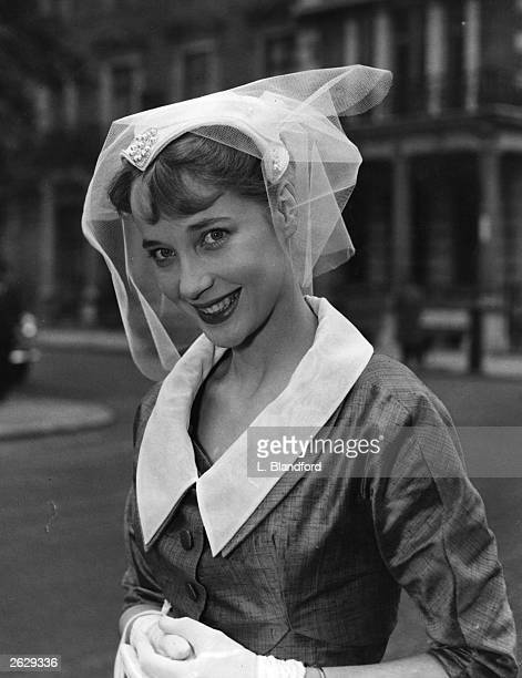 British leading lady Sylvia Syms on the occasion of her marriage to her school days sweetheart Alan Edney whom she met at the age of 14 Original...