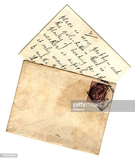 british letter and envelope - bericht stockfoto's en -beelden