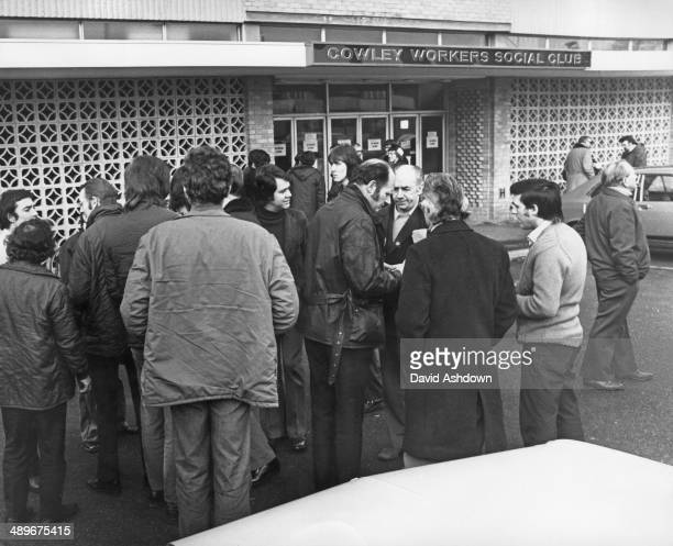British Leyland engine tuners outside the Cowley Workers Social Club before a meeting to discuss continued strike action at the British Leyland car...
