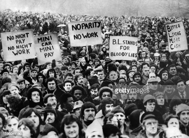 British Leyland workers from Longbridge plant demonstrate, on February 7, 1979 in Cofton park, south Birmingham, during a series of general strikes...