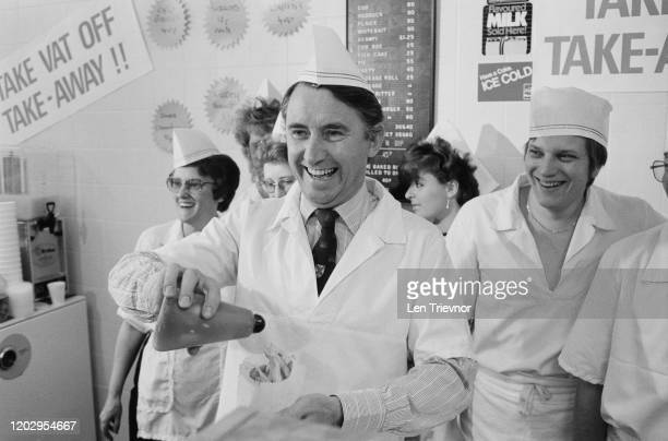 British Liberal Party politician David Steel putting vinegar on a serving of chips at the Liberal Party Conference in Bournemouth Dorset 20th...