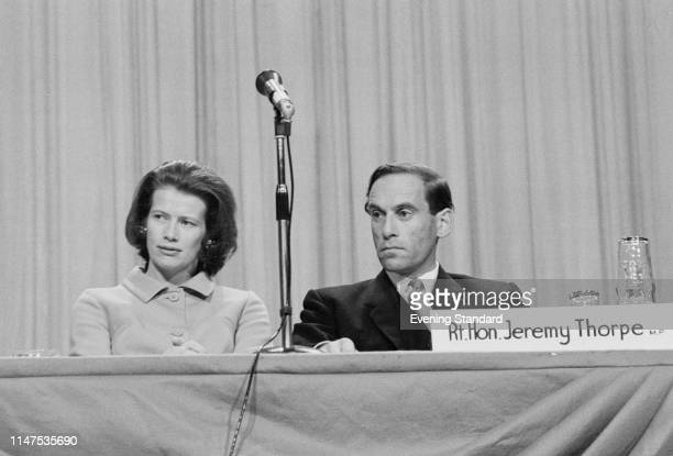 British Liberal Party politician Jeremy Thorpe with his wife Caroline Allpass at the Trades Union Congress conference, UK, 18th September 1969.