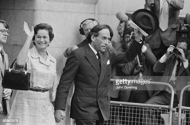 British Liberal politician Jeremy Thorpe and his wife Marion leave the Old Bailey in London 10th June 1979 Thorpe is charged with attempted murder...