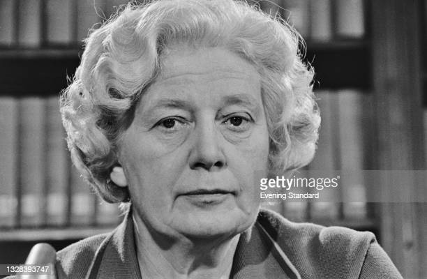 British Liberal politician Nancy Seear, Baroness Seear of Paddington in the run-up to the October 1974 general election, UK, 25th September 1974.