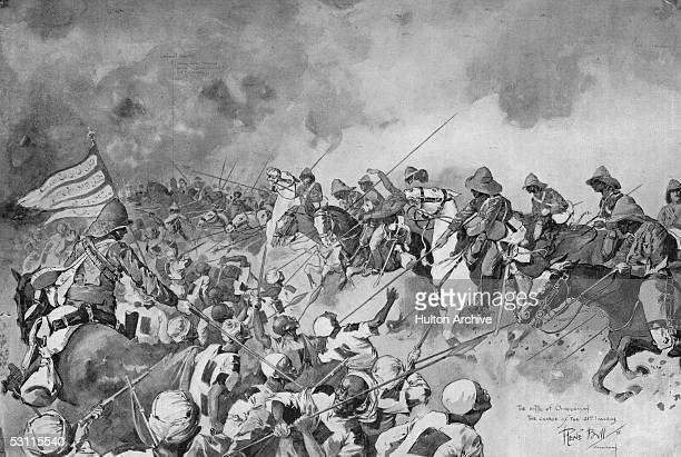 British light cavalry regiment the 21st Lancers clears the way to Omdurman in the Sudan meeting strong resistance from the forces of Khalifa...