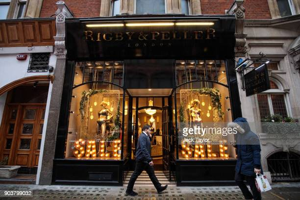 British lingerie retailer Rigby Peller stands with its royal warrant removed on Hans Road in Knightsbridge on January 11 2018 in London England The...