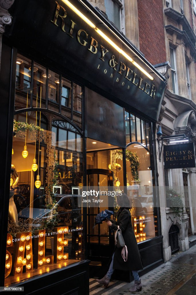 British lingerie retailer Rigby & Peller stands with its royal warrant removed on Hans Road in Knightsbridge on January 11, 2018 in London, England. The company which has supplied underwear to the Queen had its warrant removed after the firm's former owner June Kenton wrote a book about her work.