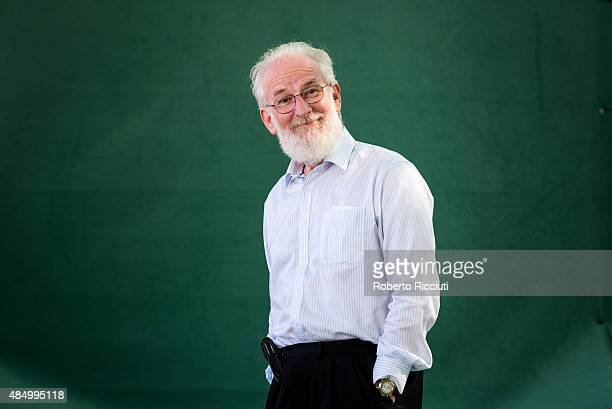 British linguist academic and author David Crystal attends a photocall at Edinburgh International Book Festival on August 23 2015 in Edinburgh...