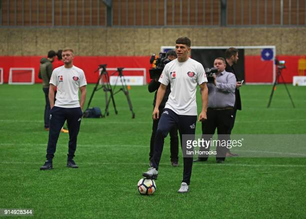 British Lionheart Boxer Pat McCormack tests his penalty skills against keeper Jason Steele during a visit to the Academy of Light on February 6 2018...