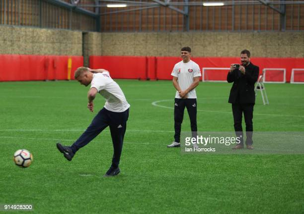British Lionheart Calum French takes a penalty against keeper Jason Steele during a visit to the Academy of Light on February 6 2018 in Sunderland...