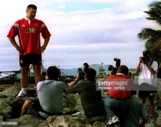British Lions captain for Tuesday's match against the Queensland President's XV David Young is the centre of attention from photographers in...