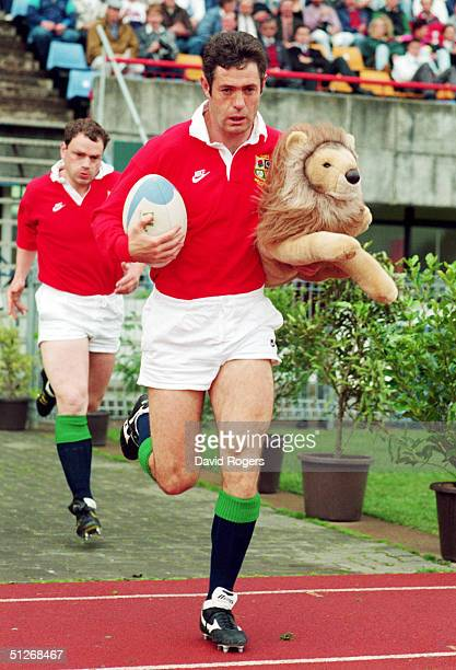 British Lions Captain Gavin Hastings leads out his team prior to the tour match between North Harbour and the British Lions at MT Smart Stadium on...