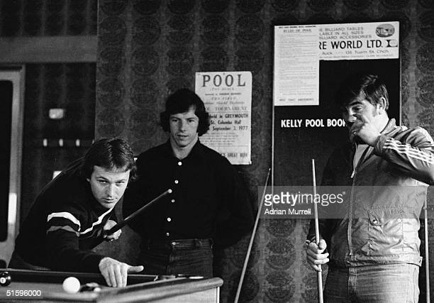 British Lions Elgan Rees and Bobby Windsor play Pool while JJ Williams watches on June 28 1977 in Westport New Zealand