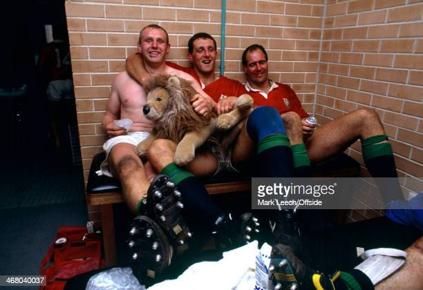 British Lions Rugby Union Tour Australia v British Lions 3rd Test Sydney Dean Richards Wade Dooley and Paul Ackford relax in the changing room after...