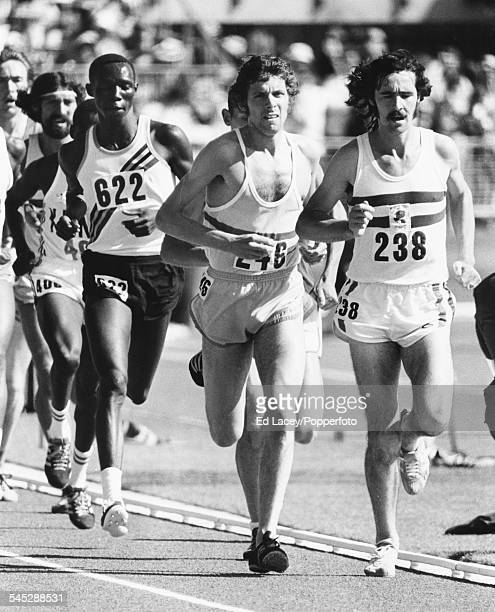British long distance runners Dave Black leads Brendan Foster during the 5000m event at the Commonwealth Games in Christchurch New Zealand January...