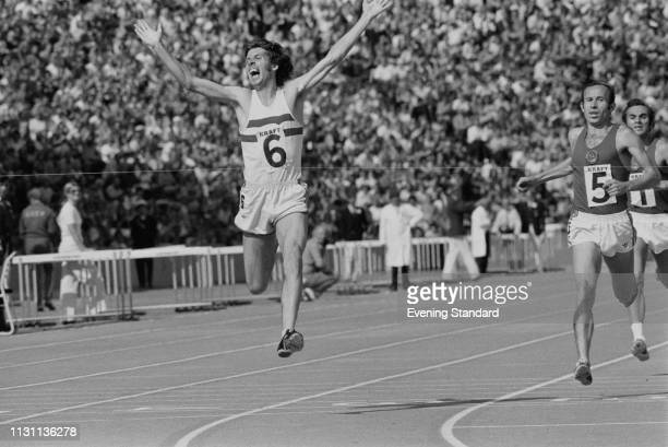 British long-distance runner Brendan Foster of Great Britain celebrates after winning the 5000 Meters during the Great Britain v Russia match at...