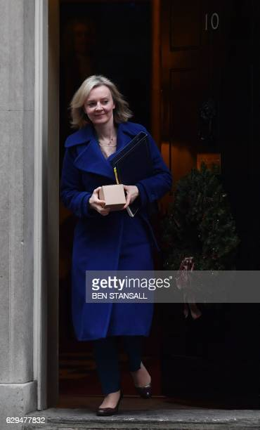 British Lord Chancellor and Justice Secretary Liz Truss leaves after the weekly meeting of the cabinet at 10 Downing Street in central London on...