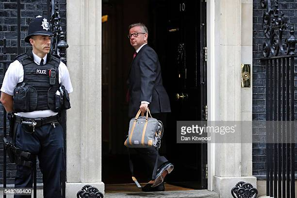 British Lord Chancellor and Justice Secretary Michael Gove arrives for a cabinet meeting at Downing Street on June 27 2016 in London England British...