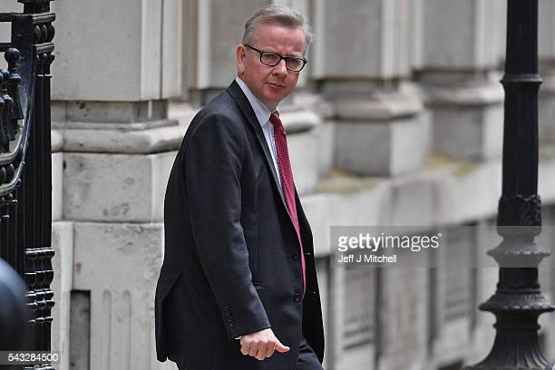 British Lord Chancellor and Justice Secretary Michael Gove leaves Downing Street following a cabinet meeting on June 27 2016 in London England...
