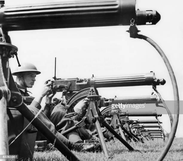 A British machine gun battalion in training with Vickers guns in southeast England circa 1940