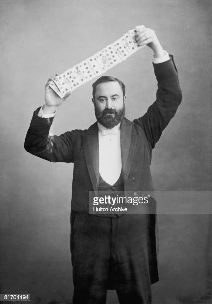 British magician Charles Bertram posing with a trick deck of cards 1890